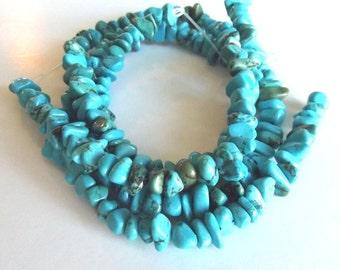 "Turquoise Magnesite Medium Chip Beads - 15"" Strand"