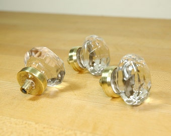Set of 3 Vintage Furniture Handle Cabinet Pull Glass Brass Star Beautiful!
