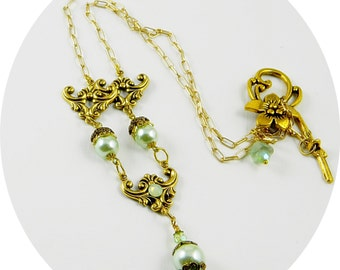 Green Pearl Necklace, Teal, Light Teal, Pearl, Necklace, Pendant, Swarovski Crystal, Gold Tone,Toggle Clasp