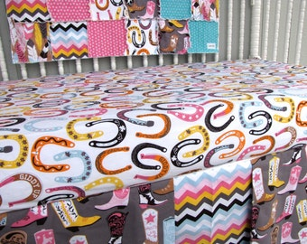 3 Piece Bumperless Crib Bedding Luckie Cowgirl Western Baby Girl Bedding