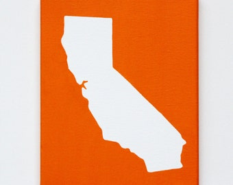 California CA United States DIY Customize Map -8X10 Canvas Acrylic Painting, Wall Art, Decor, Orange - Christmas Gift for Travelers