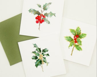 holly berries winter holiday gift enclosure card set Christmas gift stocking stuffer