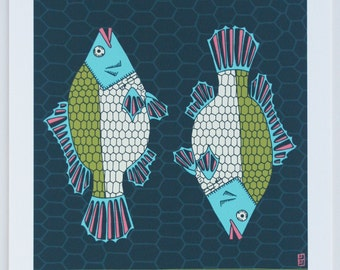 Tropical Paleo Series Tilapia Archival Giclee Art Print