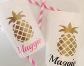 5 Personalized Gold Pineapple Party Favor Cups