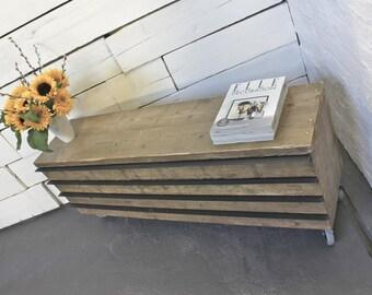 Ceylan Reclaimed Scaffolding Board Long Low Slimline Drawer Unit on Wheels with Steel Handles - Bespoke Furniture by www.inspiritdeco.com