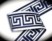 "Woven Jacquard Ribbon Greek Key Trim - 1 7/8"" x 1 yard Navy Blue and White"
