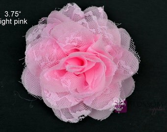 LIGHT PINK Flowers - The Charlotte Collection - Small Shabby Chiffon and Lace Puff Flowers - DIY Headbands - Fabric Flower Head Blossoms