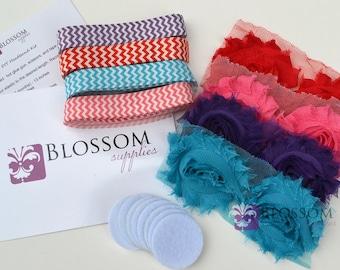 DIY Headband Making Kit - Chevron Collection - Chiffon Frayed Flowers - Shabby Rose Trim - Flower Headbands - Pink Turquoise Red Purple