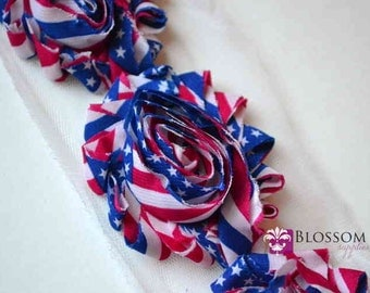 1/2 or 1 YARD Increments - Flag - Chiffon Shabby Rose Trim - Patriotic - Headband Flowers - American Red White Blue