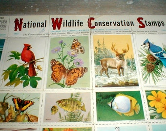 One Sheet 1965 National Wildlife Conservation Stamps *36 Stamps* Bright Images