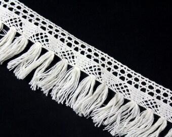 1 YARDS Off White Crochet Fringe Trim Ribbon for Crafts