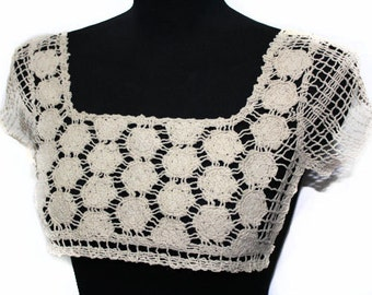 2 PCS Beige Crochet  Necklace Collar with Sleeves - For DIY Fashion Projects