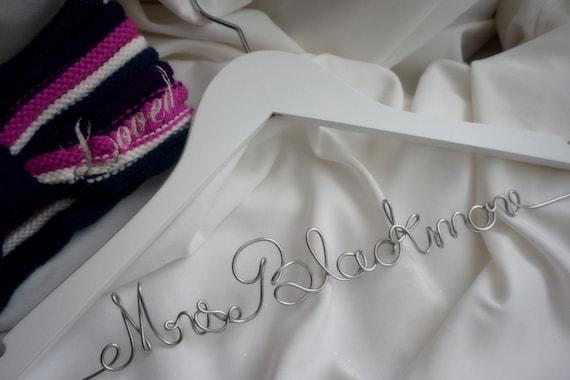 Bride Hanger, Personalized Keepsake, Non Tarnish Script, Durable Top Quality