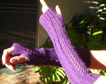 Knitted arm warmers - Fishnet arm warmers - Cable knit Arm Warmers - - knit gloves - womens Fingerless Gloves purple