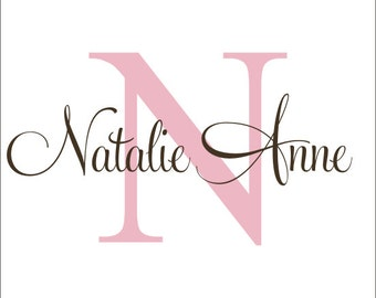 Personalized Wall Decal Vinyl Wall Decal Name Initial Decal Monogram Wall Decal Girls Nursery Bedroom Decal Fancy Script Decal Housewares