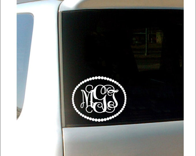 Monogram Car Decal Vine Monogram Pearl Border Vinyl Decal Personalized Car Decal Preppy Girly Southern Custom Car Decal Car Monogram Decal