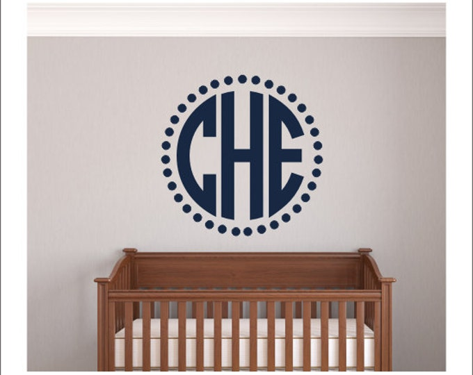 Monogram Vinyl Decal Monogram Wall Decal Vinyl Wall Decal Monogram with Border Frame Circle Monogram Decal Preppy Southern Wall Decal