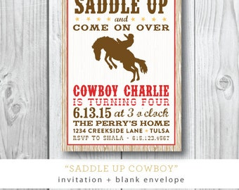 Saddle Up Printed Invitations | Cowboy Birthday Boy Party Invitation | Printed or Printable by Darby Cards