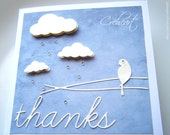 Handmade Card Blue sky, Clouds, Rain, Bird, Rhinestones, Thanks, Thank you card, Special event, Creheart