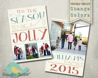 Christmas Card Template PHOTOSHOP TEMPLATE - Family Christmas Card 122