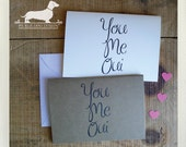 You Me Oui. Note Card -- (Valentine Day Card, Valentine, Love, Heart, French, Cute, Anniversary, Romantic, Simple, Typography, Friendship)