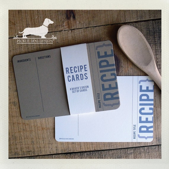 ... Recipe Cards -- (Modern, Gift for Guys, Simple, Wedding, Bridal Shower