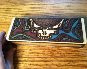 CUSTOM  Grateful Dead Stealy Face with Designs Wood Burned Wooden Box
