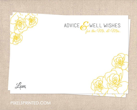 Wedding Well Wishes Card Marriage Advice Cards Thick Matte