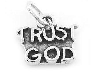 Sterling Silver Trust God Charm (Flat Charm)