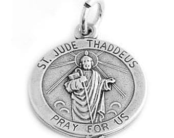 Sterling Silver St. Jude Thaddeus Charm (One Sided charm)