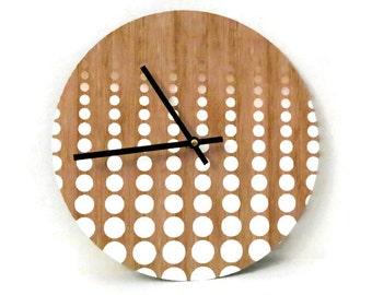 Unique Wall Clock, Etsy Art, Modern Clock, White Polka Dots,  Woodgrain Pattern, Battery Operated Clock, Woodgrain Clock