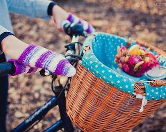 Bike gloves, bike mittens,Purple stripes bike handwarmers for adults and teens, crochet bicycle gloves, cycling, gift for bik