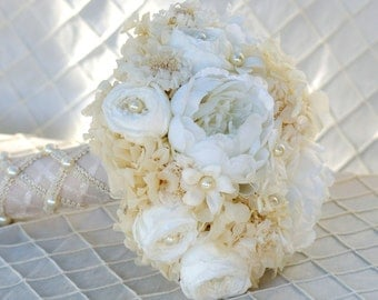 Champagne Ivory White Real Preserved Rose Silk Peony Bridal Bouquet