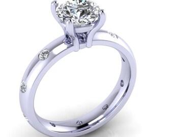 Moissanite engagement ring, burnish set diamonds around band, style 105WDM
