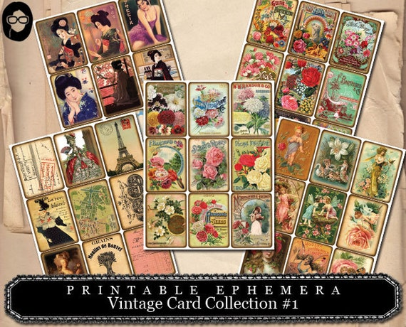 Vintage Card Collection #1- (5) Page INSTANT DOWNLOAD