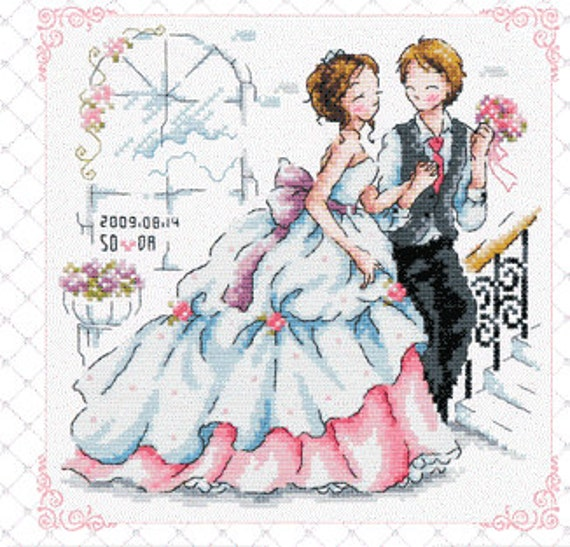 Items similar to wedding cross stitch pattern bride and for Punto croce immagini