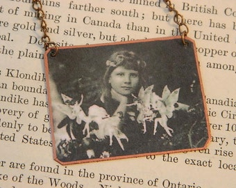 Fairy necklace wearable art fairy jewelry Cottingley Fairies