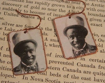 Black History earrings Ernest Hogan Ragtime jewelry mixed media jewelry dance