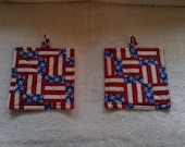 "Pair Red white and blue pot holders 7"" square"