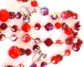 Laguna Red Orange Crystal Rhinestone Necklace Earring Set