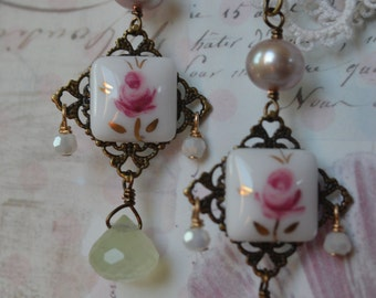 Sweet vintage glass pink rose cabochons with pink pearls and pale green prehinite