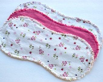 Baby girl burp cloth set of 3 : Flannel, Contoured,  Baby burp cloths, Burp rags, ragged edges, polka dots, flowers, butterflies, hearts