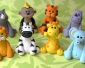 Choose your own set of 4 Safari Animals - Safari Jungle Animals fondant set - Fondant Animals Fondant Safari Animals Fondant Jungle Topper