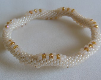 Bead Crochet Bangle:  Topaz Sparkles