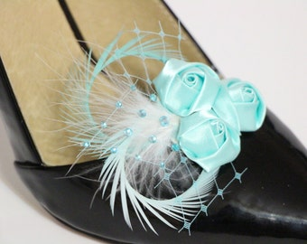 Shoes clips -  aqua tiffany blue flowers trio and feather