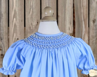 Light Blue Smocked Bishop Dress with Pearl-Like Beads