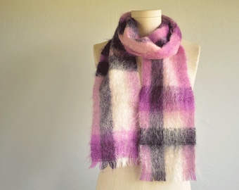 Vintage Mohair Scarf / 80s Purple Orchid Navy Plaid Wool Scarf with Fringe