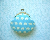 Blue Little Elephant Coin Purse - Bridesmaid Gift, Birthday Gift, Stocking Stuffer, Holiday Gift for Her