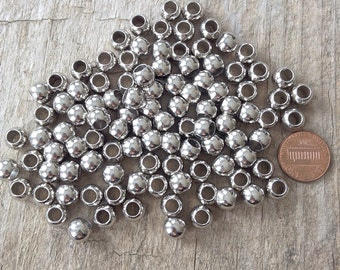 50pcs Small Silver Beads, Large Hole Beads, CCB 7mm with 5mm hole NEW, Jewelry Making, DIY, Craft Supplies, Jewelry Supplies