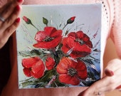 Red Poppy painting , Original flowers  painting, Original oil painting on canvas 7,9x7,9 inches (20x20 cm)